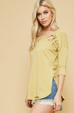 Butter Lace Side Slit Dolphin Hem Top