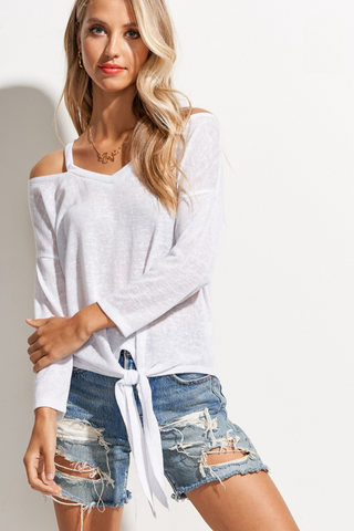 White Cold Shoulder Front Tie Top