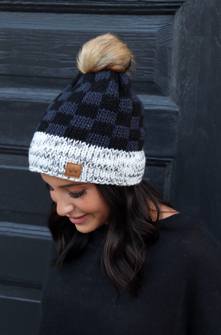 Grey & Black Buffalo Plaid Knit Pom Beanie