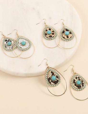 Gold Turquoise Teardrop Earrings