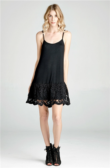 Black Lace Layering Dress Extender