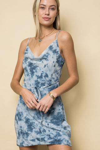 Navy Tie Dye Belted Mini Dress