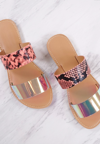 Iridescent Multi Double Band Athena Sandal