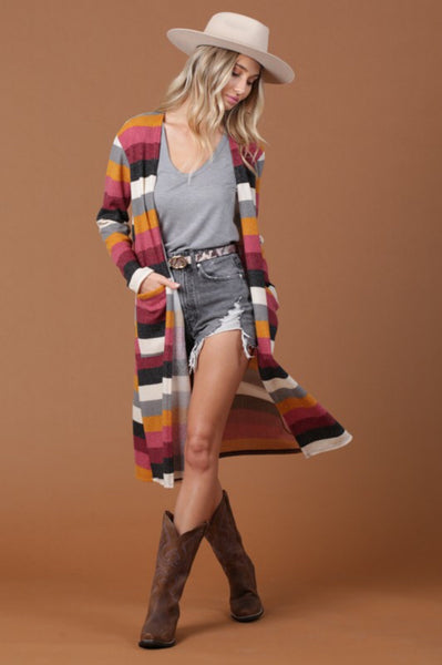 Stripe Hacci Duster