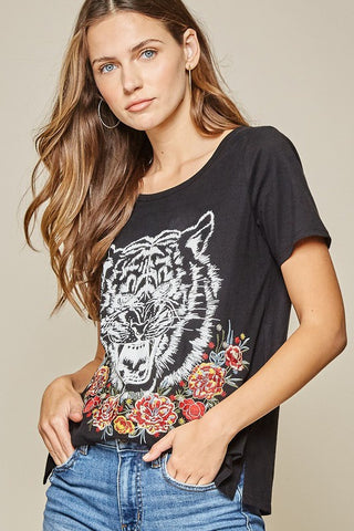 Black Embroidered Tiger Graphic Tee