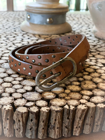 Multi Stud Genuine Leather Belt