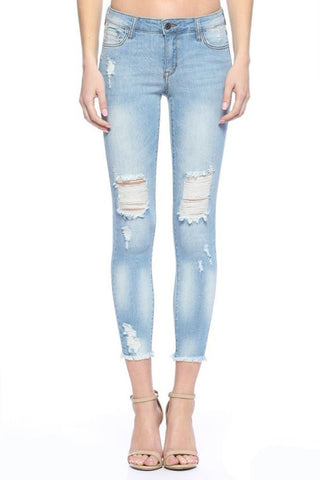 Cello Light Wash Distressed Skinny