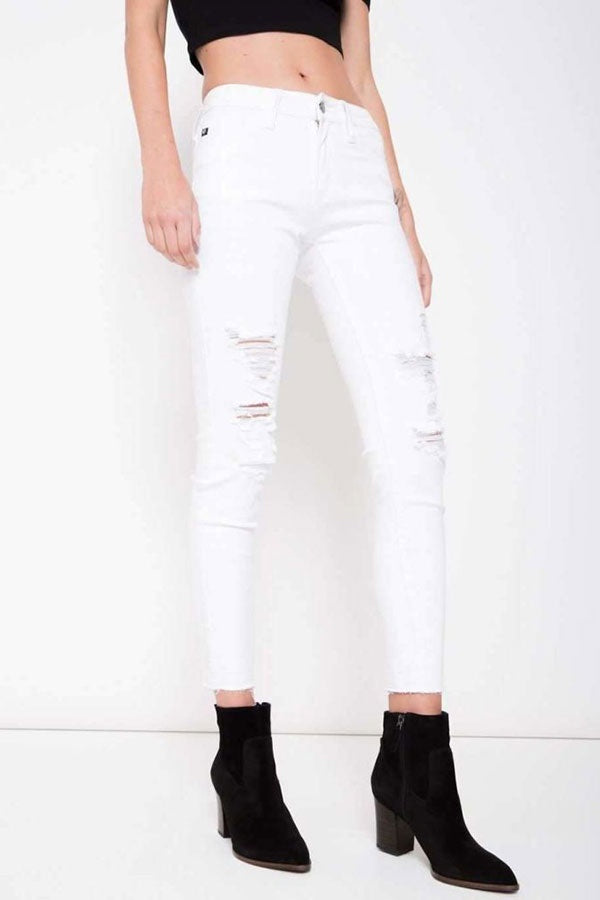 White Distressed KanCan Skinny Jeans