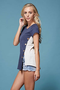 Side Button French Terry Top