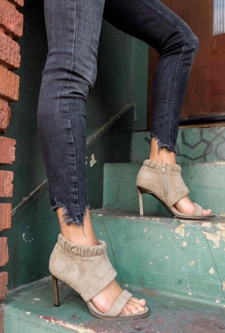 Grey Vegan Suede Open Toe Heels