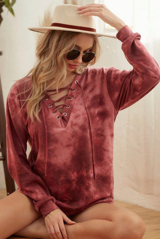 Burgundy Lace Up Tie Dye Pullover