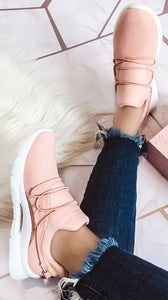Let's Go For A Run Blush Athletic Sneakers