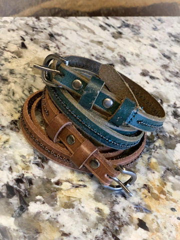 Stitched Stud Leather Belt