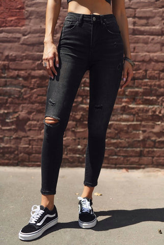 High Waisted Vintage Black Skinny Jean