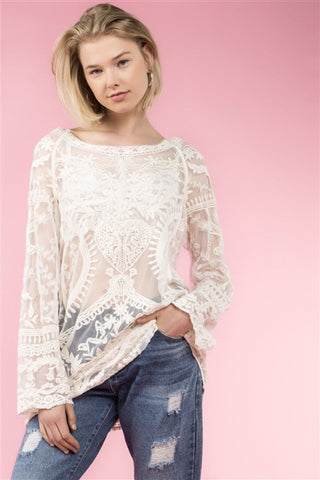 Sheer Crochet Lace Vintage Top
