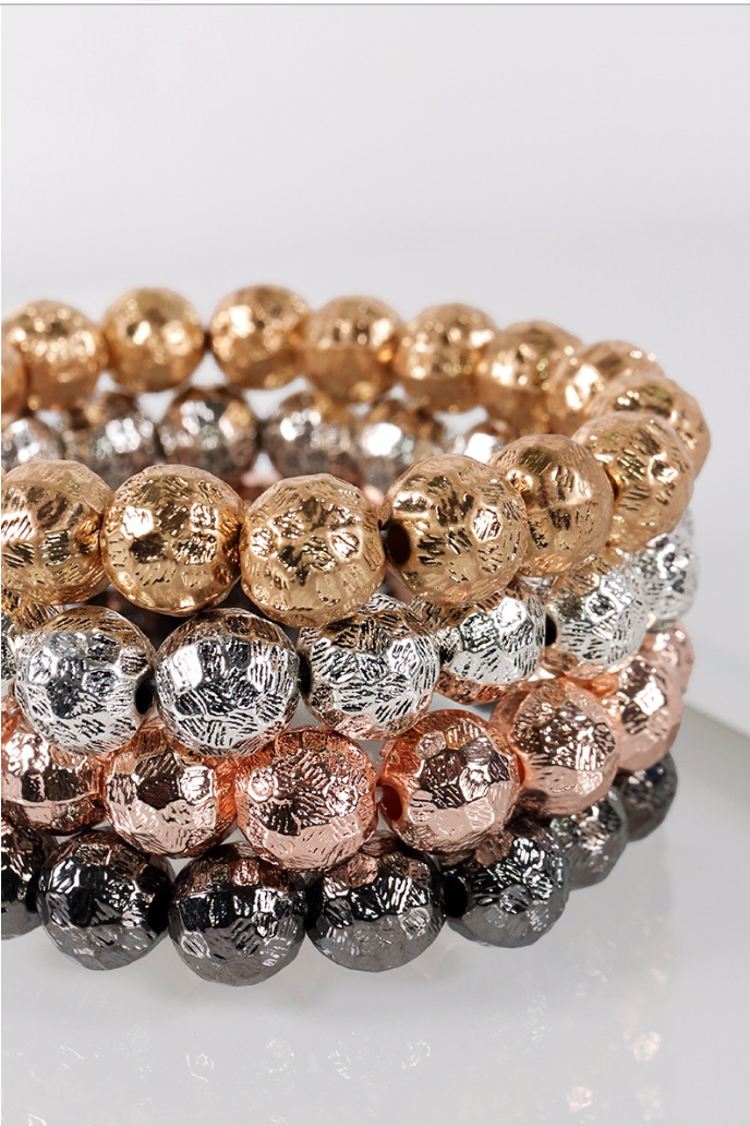 Textured Metal Beaded Stretch Bracelet