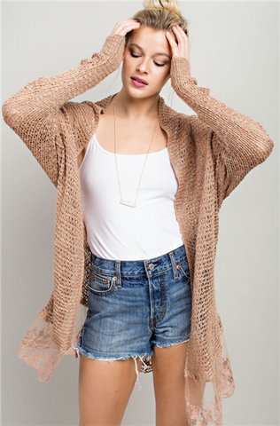 EmBroidered Mesh Knit  Cardi with Lace Detail