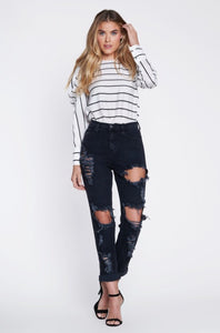 Vintage Black Distressed Boyfriend Jeans