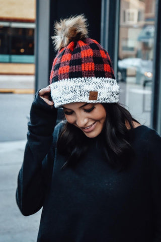 Red Buffalo Plaid Fleece Lined Pom Hat