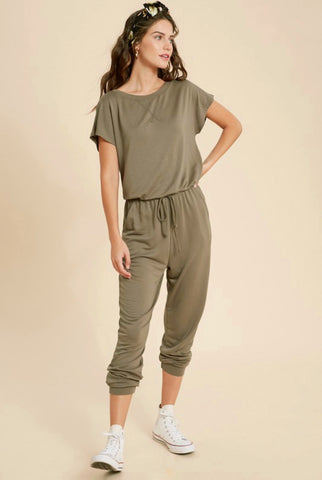 Olive Knit Short Sleeve Jumpsuit