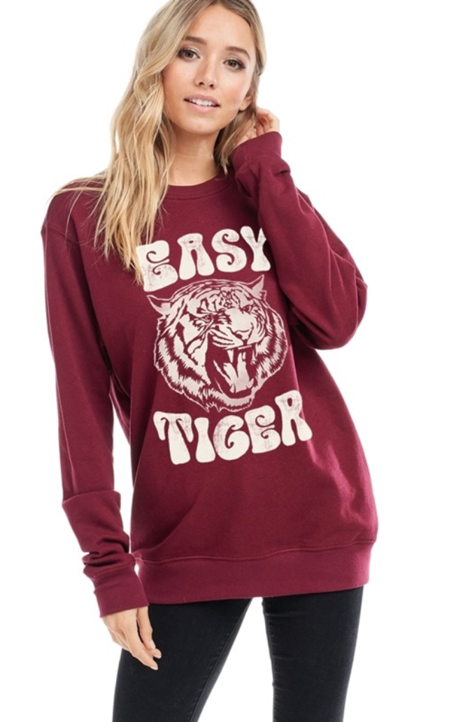 Hippie Easy Tiger Graphic Pullover