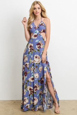 Violet Foral Halter Maxi Dress