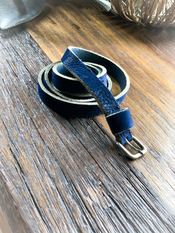 Deep Blue Leather Belt