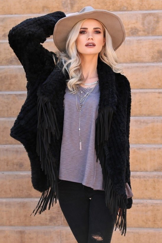 Black Plush Fringe Statement Jacket