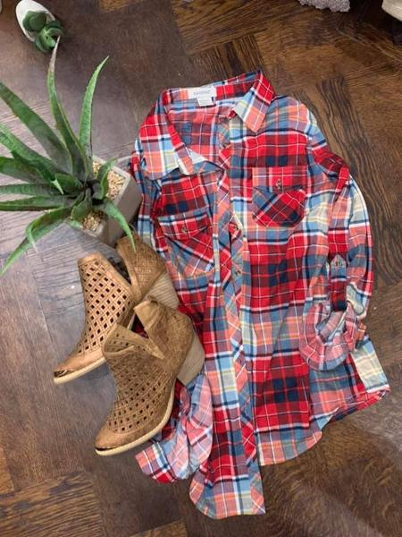 Perfect Plaid Stretch Button Up