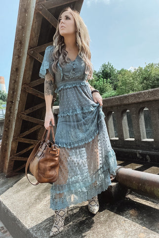 Deep Sage Bohemian Lace Maxi Dress
