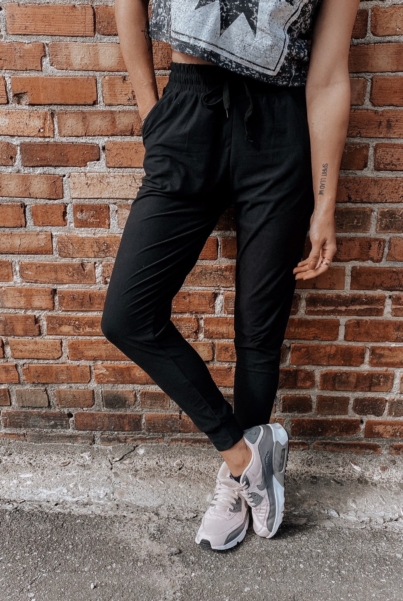 Basic Black Drawstring Poly Joggers
