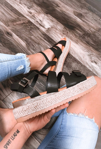 Kimmie Black Espadrille Sandals