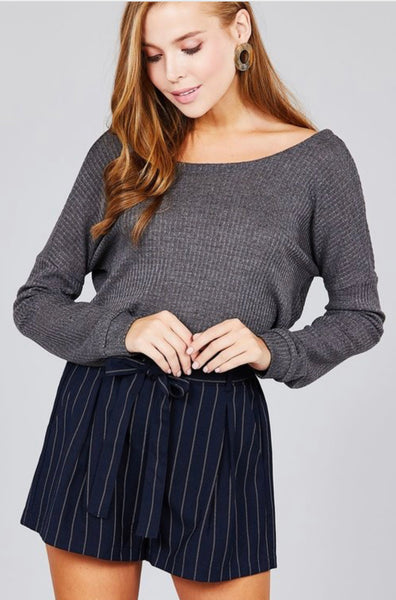 Round Neck Waffle Knit Twist Back Top