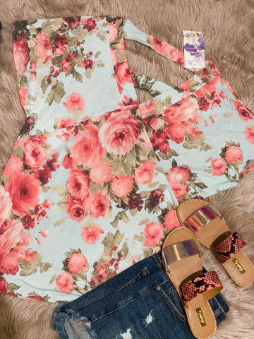 Floral Print Ladder Cutout Back Top