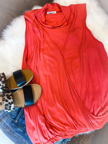 Coral Sleeveless Choker Top