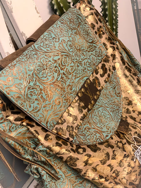 Gold Acid Leopard Hide Turquoise Paisley Rosie Backpack