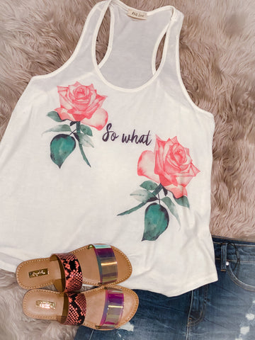 So What Floral Graphic Tank