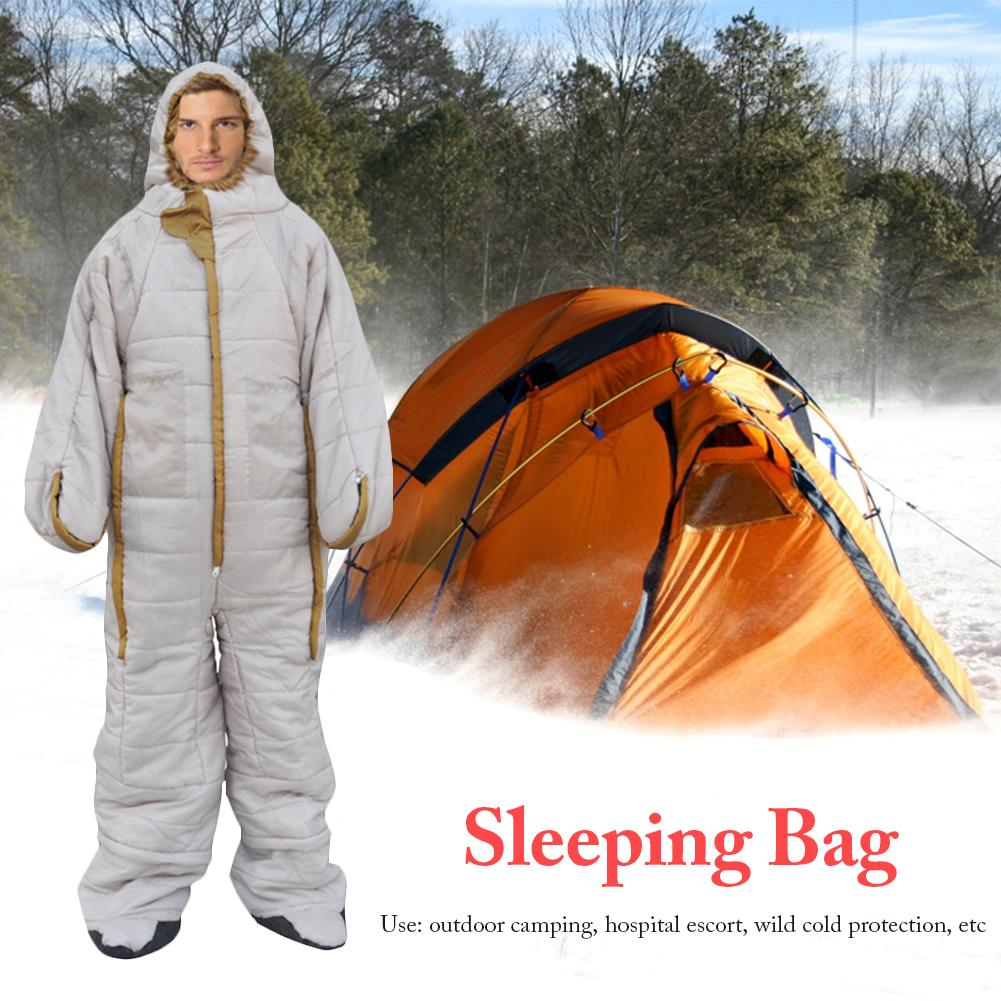 Hiking Camping Sleeping Bag Thicken Wearable Mountaineering Sleepingbag Outdoor Activity Profession Sleeping Bag With Zipper 4
