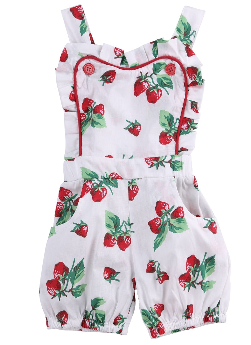 4b3631f24 Load image into Gallery viewer, Toddler Girls Rose Strawberry Printed Baby  Girl Ruffle Romper ...