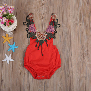 1ca121f8b5f4 Baby Girls Backless Red 3D Rose Floral Romper