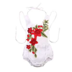 8388f9031334 Baby Girl 3D Rose Embroidered Flower Rompers