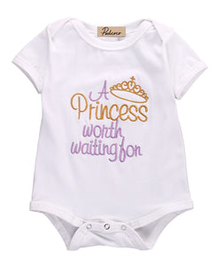 e5fcbf39f1db A Princess worth Waiting For Baby Girls Letter Romper