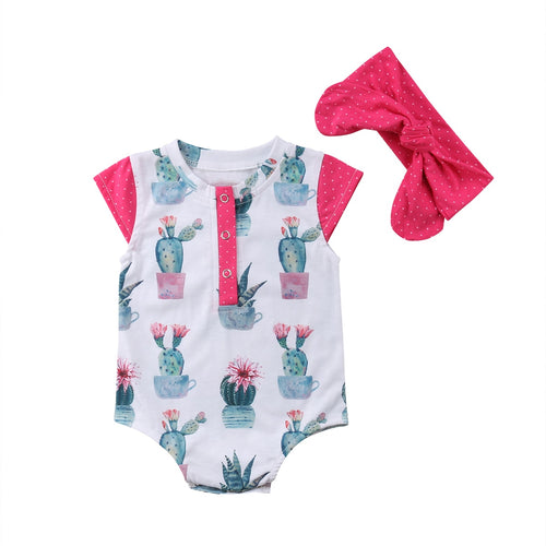 539df979923d Infant Baby Girl 2 pcs Cactus Button Romper with Headband