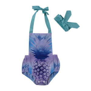 486b1b46a423 Infant Baby Girls 3D Pineapple Halter Backless Purple Romper with Headband