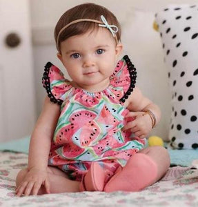 499386cf8f9 Baby Girl Flying Sleeve Tassel Watermelon Romper