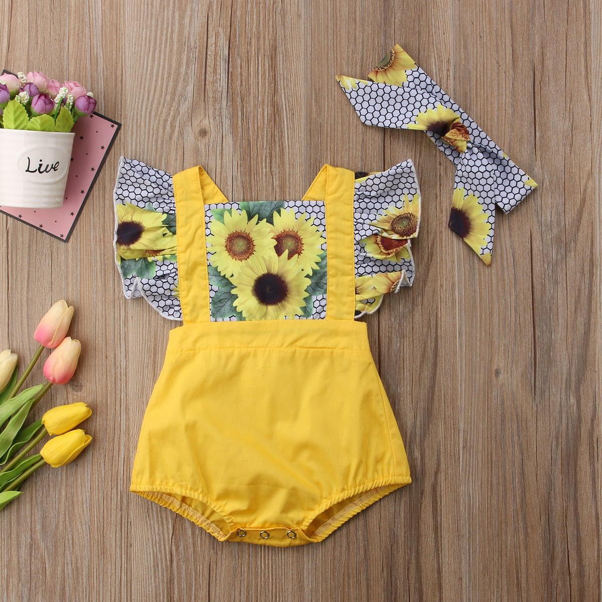 132450d5c ... Load image into Gallery viewer, Baby Girl Patchwork Sunflower Ruffle  Romper + Headband