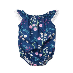 c30ae1bb3 2019 0-18M Newborn Baby Girls Lace Floral Summer Romper Jumpsuit Outfit  Sunsuit Navy Blue