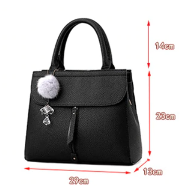 Matt's Expo Fur Ball Decor Crossbody Handbag