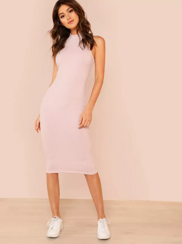 Pink Rib Knit Pencil Dress | Slim Pink Dress 2018