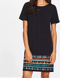 Aztec Hem Dress Black B